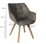 PTMD Cluse taupe immi Suede chair arms_