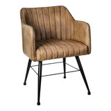 PTMD Genna leather beige dining chair _