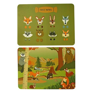 PLACEMAT FOREST ANIMALS SET/2 THE ZOO