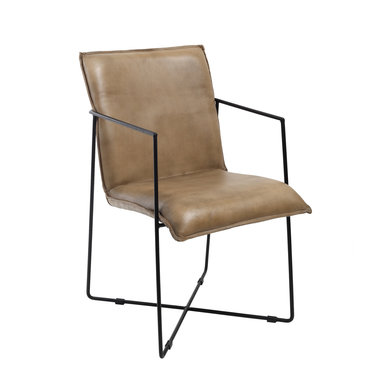 PTMD Djuna beige buffalo leather chair Iron frame