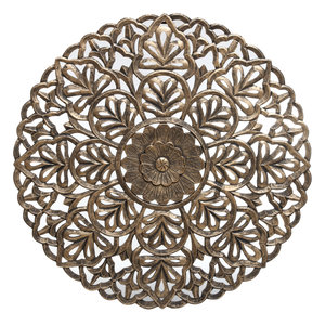 PTMD Milano gold blossom handcarved wallpanel round L
