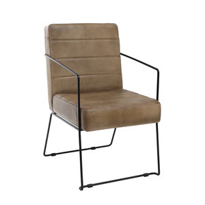 Super Ptmd Jaim Beige Buffalo Leather Chair Iron Frame Cjindustries Chair Design For Home Cjindustriesco